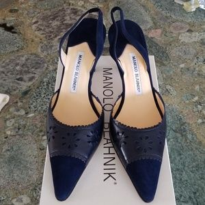 Manolo Blahnik Navy Leather and Suede Slingbacks
